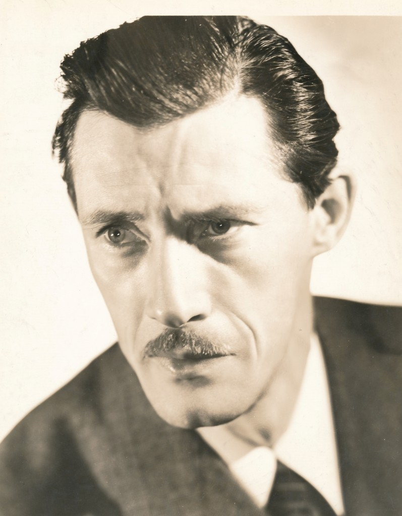 Creepy John Carradine portrayed more villains than any monster roles. No one could do the mad scientist bit better than he! This is a formal portrait taken during his contract days at 20th-Fox. It was at this studio that he essayed what may have been his finest role as Casy in the classic 1940 John Ford film,  'The Grapes of Wrath'. (c) 20th Century-Fox