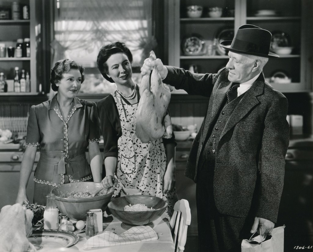 The Hardy Family was a series of MGM films in the 1940s that featured the adventures of a 'typical' Middle-American family. The series featured Mickey Rooney, but was abetted by some of the industry's greatest character actors. Fay Holden (l) portrayed stalwart Ma Hardy; (c) Sara Haden was eternal spinster Aunty Milly; holding the bird was one of filmdon's greatest actors, Lewis Stone. Stone's incredible career extended back to the silent era, and was a contract player at Metro for some 30 years! He acted with everyone from Garbo to Harlow. (c) MGM