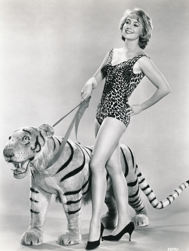 I don't know who ever thought this pose was a good idea, but someone talked actress Shirley Jones into climbing into a leopard bathing suit and high heels and lead a stuffed tiger on a leash! It's a bit a puzzling publicity from the 1962 film, 'A Ticklish Affair.'  I'm sure Ms. Jones would love to have this still buried! (c) MGM