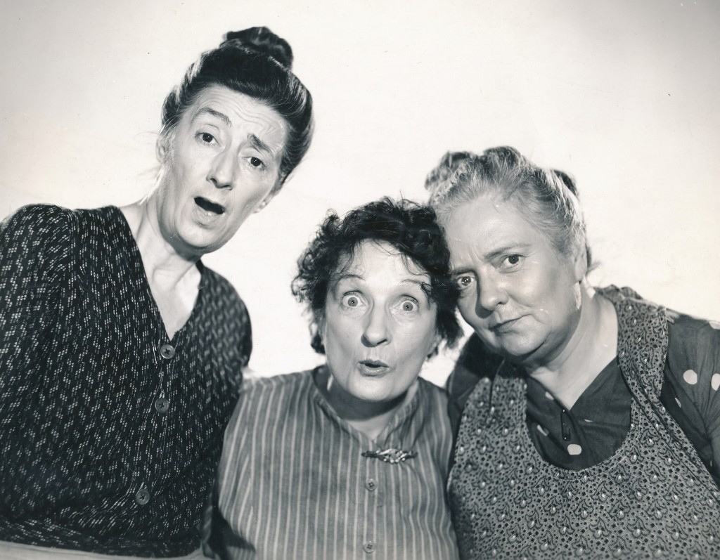 Faces only a mother could love. Actually it's three of Hollywood's top character actresses, striking an uncharacteristically jovial pose. Left-to-right, that's Almira Sessions, Una O'Connor and Dorothy Vaughan from the 1941 Columbia film, 'Three Girls About Town.' They had the market cornered on playing maids, cleaning women, and other tart-toungued domestics.  Aren't they Precious? (c) Columbia Pictures