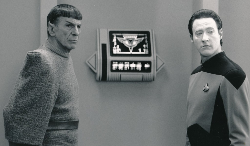 Two characters cut from the same cloth. Nimoy reprised his role of Spock for a 1991 episode of 'Star Trek: The Next Generation.' Here he is alongside calculating android Data (Brent Spiner). (c) Paramount Television
