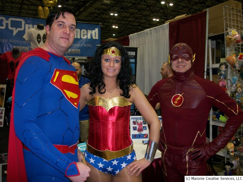 Of course, cosplay was in full blossom during the event. Here DC icons Superman, Wonder Woman and the Flash take pause for a photo-op!
