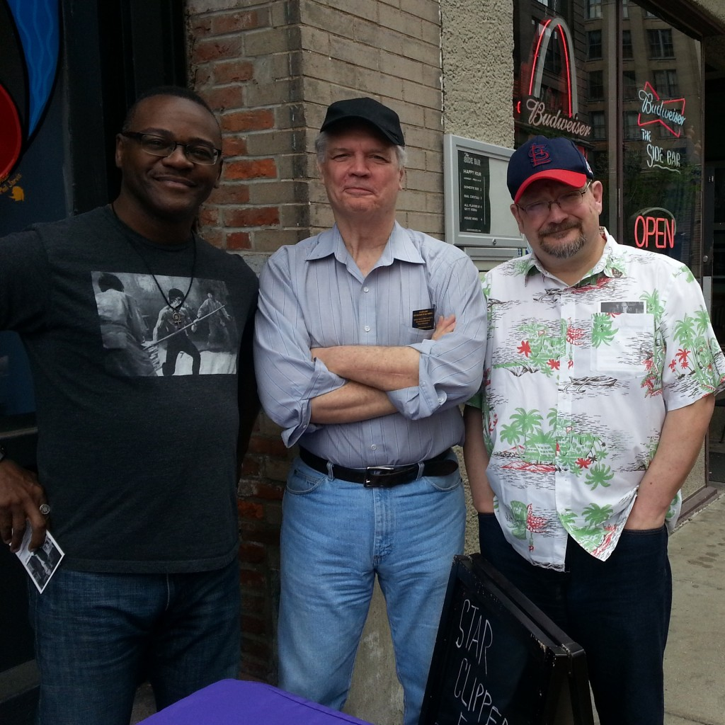 Three boys who made bad..... A trio of veteran St. Louis artists! That's Lorenzo Linzana, creative director at Lion Forge Comics; Don Secrease, and Rick Burchett. They were on hand to wish Star Clipper well at it's new location.