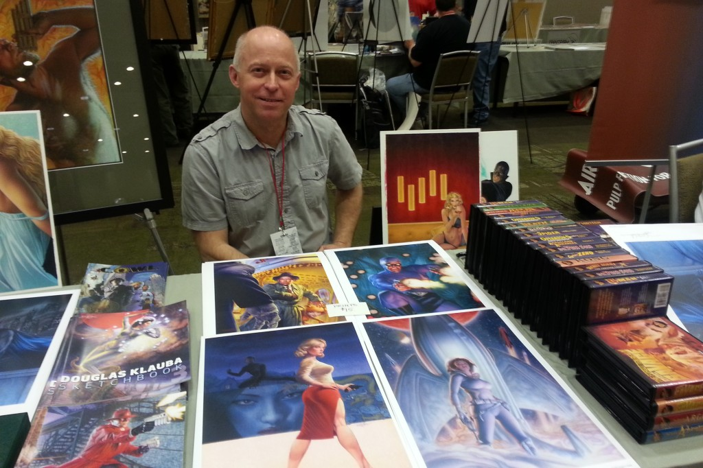 Chicago commercial artist Douglas Klauba is always a welcome guest at Windy City Pulp Con. just take a look at his beautiful  work on display!