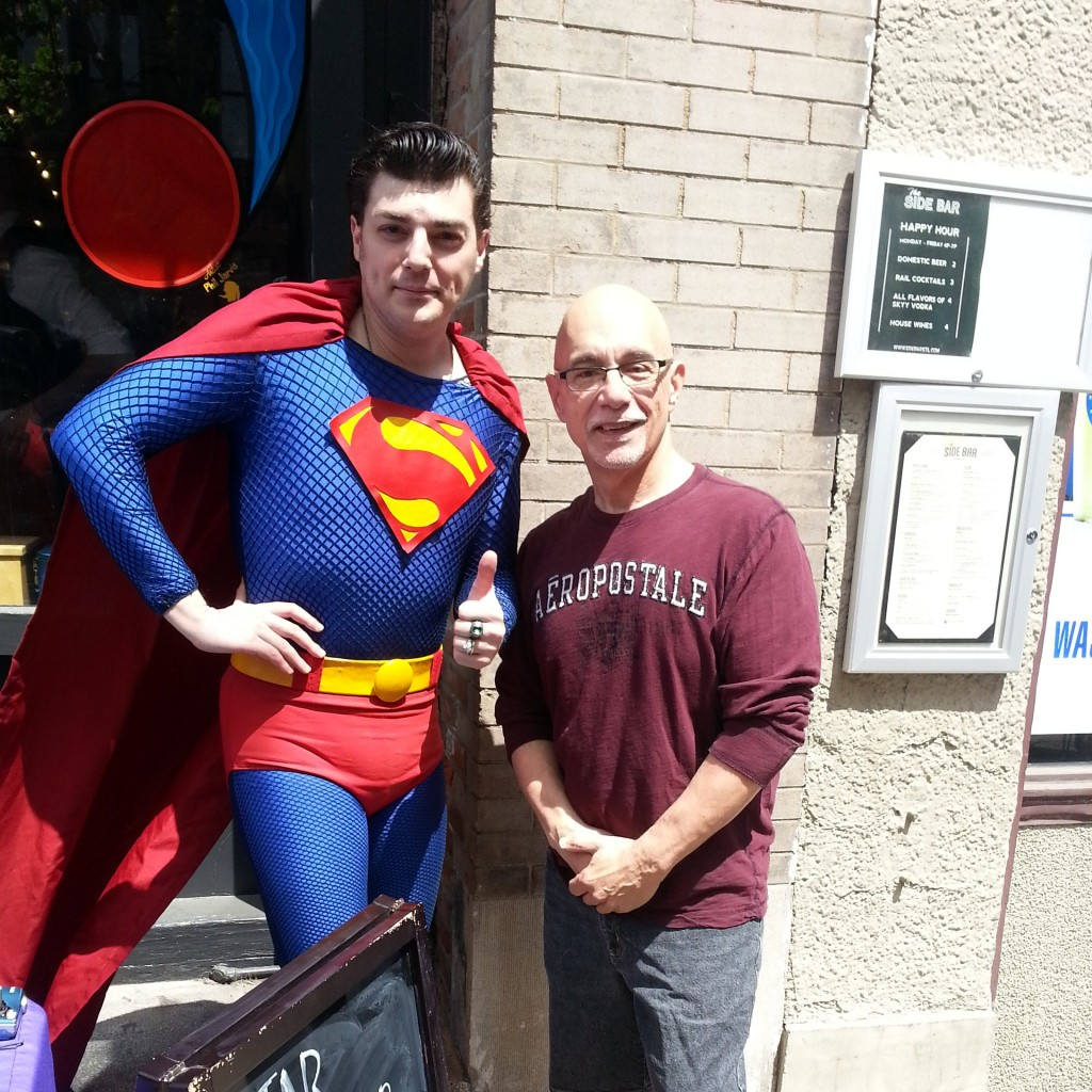 St. Louis Superman Charlee Soffer appeared at the grand re-opening of Star Clipper, along with a phalanx of other cosplayers. Their presence turned the event into an impromtu street fair, attracting folks from other venues in the neighborhood.