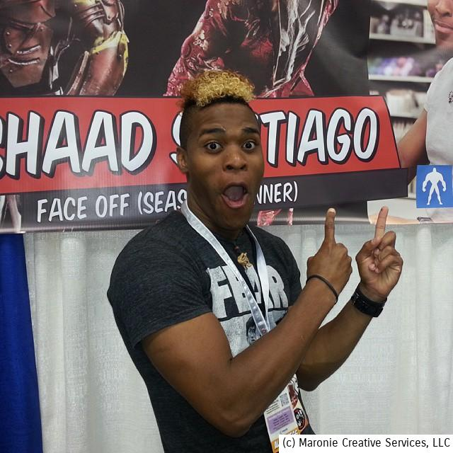'Face Off' Season 6 winner, Rashaad Santiago, gives himself a shout-out during Indy PopCon, this past June in Indianapolis, Indiana.
