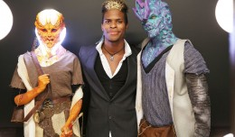Rashaad Santiago is flanked by two of his most outre creations. His handiwork made him winner of Season 6 of the Syfy Channel's 'Face Off' reality show.